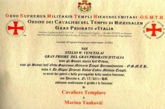 jedna od diploma za bogati društveni i humanitarni rad Mrine Tauković
